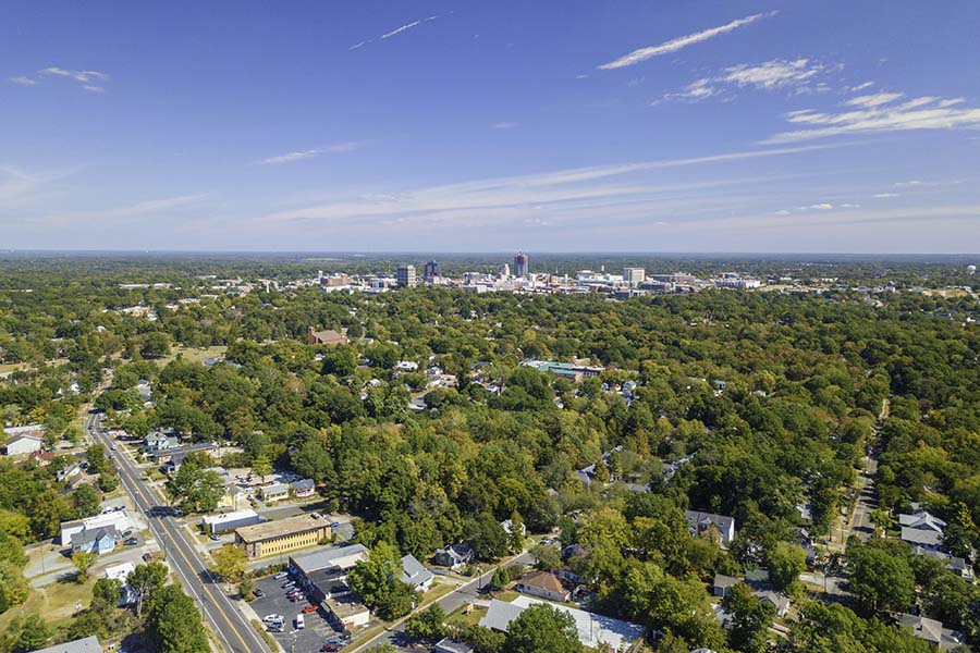 North Carolina - Aerial View Of Small Town In North Carolina On Sunny Day